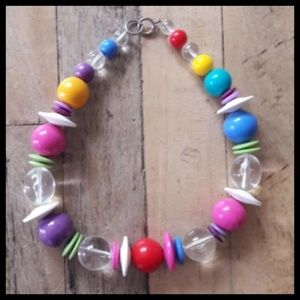 Cool Vtg 80's Rainbow color chunky beaded necklace